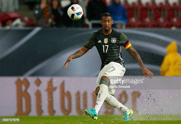 Jerome Boateng of Germany runs with the ball during the International Friendly match between Germany and Slovakia at WWKArena on May 29 2016 in...