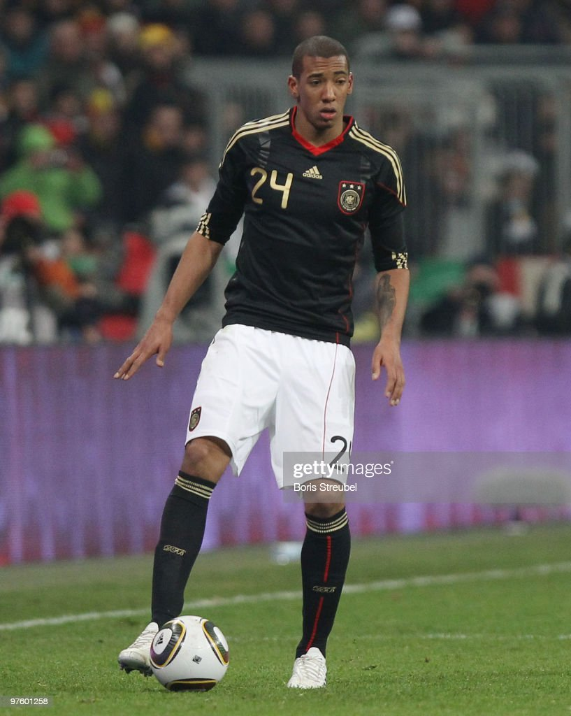 Jerome Boateng of Germany runs with the ball during the International Friendly match between Germany and Argentina at the Allianz Arena on March 3, 2010 in Munich, Germany.