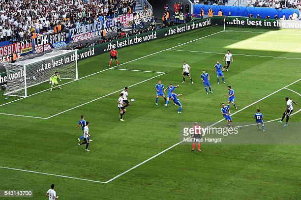 Jerome Boateng of Germany scores the opening goal during the UEFA EURO 2016 round of 16 match between Germany and Slovakia at Stade PierreMauroy on...