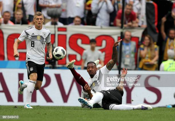 Jerome Boateng of Germany Toni Kroos of Germany during the 2018 FIFA World Cup Russia group F match between Germany and Mexico at Luzhniki Stadium on...
