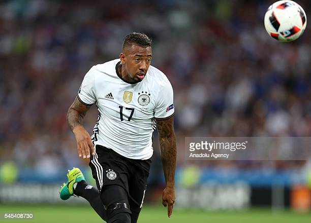 Jerome Boateng of Germany vies for the ball during the UEFA Euro 2016 semi final match between Germany and France at Stade Velodrome in Merseille...