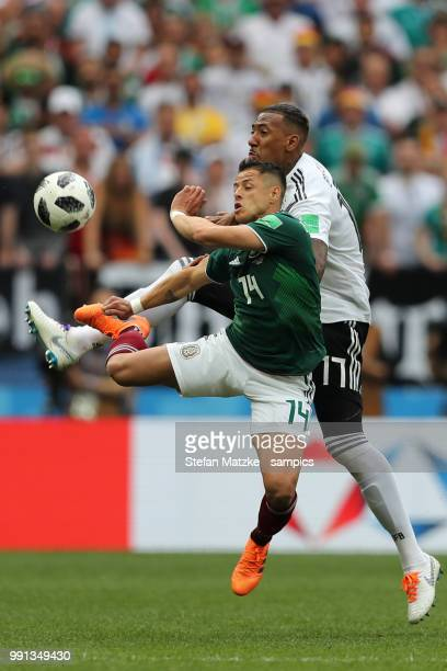 Jerome Boateng of GermanyJavier Hernandez of Mexico during the 2018 FIFA World Cup Russia group F match between Germany and Mexico at Luzhniki...