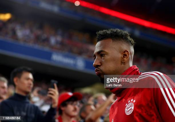 Jerome Boateng of Muenchen is seen during the Bundesliga match between FC Bayern Muenchen and Hertha BSC at Allianz Arena on August 16 2019 in Munich...