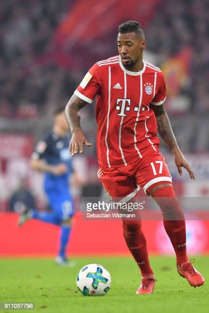 Jerome Boateng of Muenchen plays the ball during the Bundesliga match between FC Bayern Muenchen and TSG 1899 Hoffenheim at Allianz Arena on January...