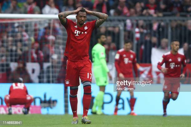 Jerome Boateng of Muenchen reacts during the Bundesliga match between FC Bayern Muenchen and Hannover 96 at Allianz Arena on May 04 2019 in Munich...