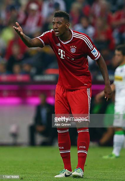 Jerome Boateng of Muenchen reacts during the Bundesliga match between Bayern Muenchen and Borussia Moenchengladbach at Allianz Arena on August 9 2013...