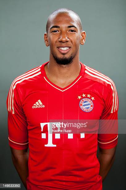 Jerome Boateng poses during the Bayern Muenchen team presentation at Bayern's training ground Saebener Strasse on July 30, 2012 in Munich, Germany.Ê