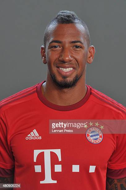 Jerome Boateng poses during the team presentation of FC Bayern Muenchen at Bayern's training ground Saebener Strasse on July 16 2015 in Munich Germany