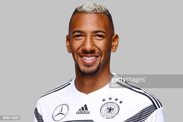 Jerome Boateng poses for a photo during a portrait session ahead of the 2018 FIFA World Cup Russia at Eppan training ground on June 5 2018 in Eppan...