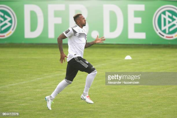Jerome Boateng runs during a training session of the German national team at Sportanlage Rungg on day nine of the Southern Tyrol Training Camp on May...