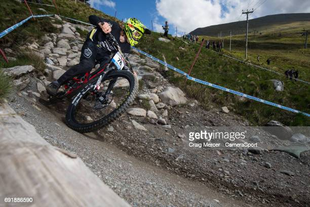 Jerome Caroli of Switzerland during qualifying for the Men's Downhill event at the UCI Mountain Bike World Cup on June 3 2017 in Fort William Scotland