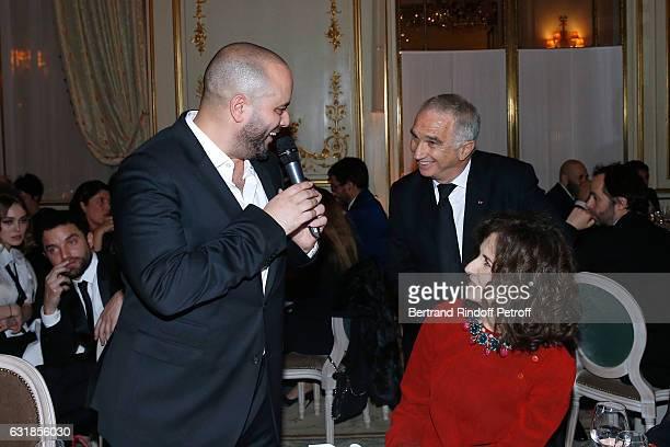 Jerome Commandeur President of Academy des Cesars Alain Terzian and Valerie Lemercier attend the Cesar Revelations 2017 Dinner at Hotel Meurice on...