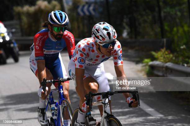 Jerome Cousin of France and Team Total Direct Energie / Benoit Cosnefroy of France and Team Ag2R La Mondiale Polka Dot Mountain Jersey / Breakaway /...