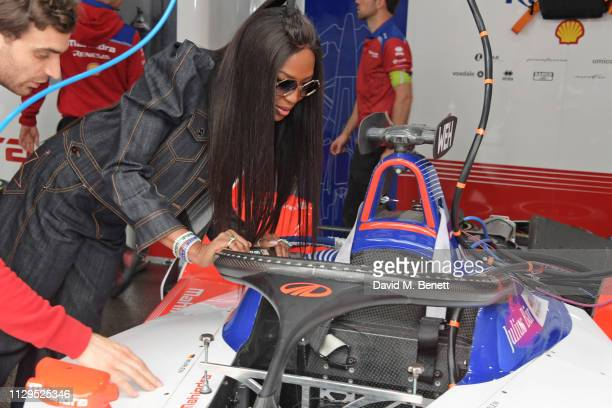 Jerome d'Ambrosio and Naomi Campbell attend the ABB FIA Formula E HKT Hong Kong EPrix on March 10 2019 in Hong Kong