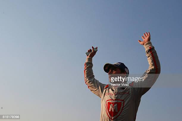 Jerome d'Ambrosio of Belgium and Dragon Racing celebrates after winning the second place the Mexico City Formula E Championship 2016 at Autodromo...