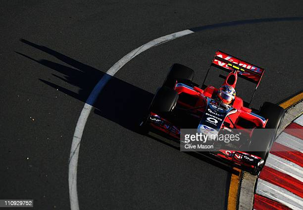 Jerome D'Ambrosio of Belgium and Marussia Virgin Racing drives during the Australian Formula One Grand Prix at the Albert Park Circuit on March 27...