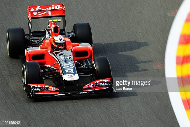 Jerome D'Ambrosio of Belgium and Marussia Virgin Racing drives during practice for the Belgian Formula One Grand Prix at the Circuit of Spa...