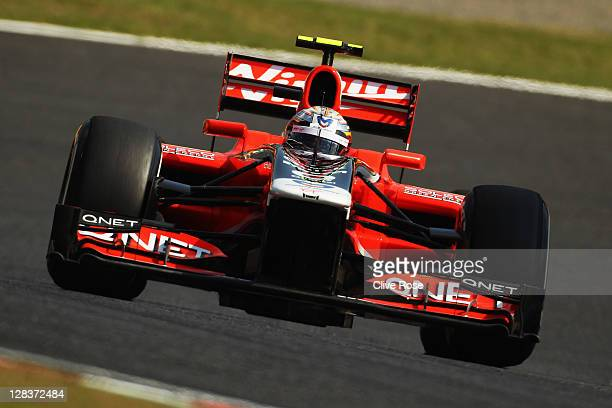 Jerome D'Ambrosio of Belgium and Marussia Virgin Racing drives during practice for the Japanese Formula One Grand Prix at Suzuka Circuit on October 7...