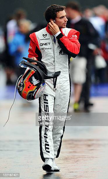 Jerome D'Ambrosio of Belgium and Marussia Virgin Racing prepares to drive during practice for the Belgian Formula One Grand Prix at the Circuit of...