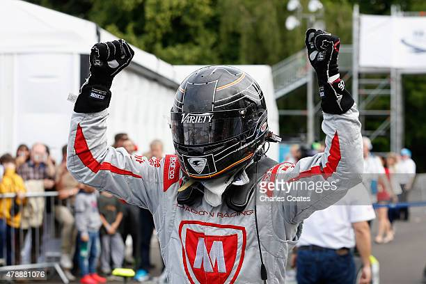 Jerome d'Ambrosio of Belgium celebrates 2nd position in parc ferme at Battersea Park Track on June 28 2015 in London England