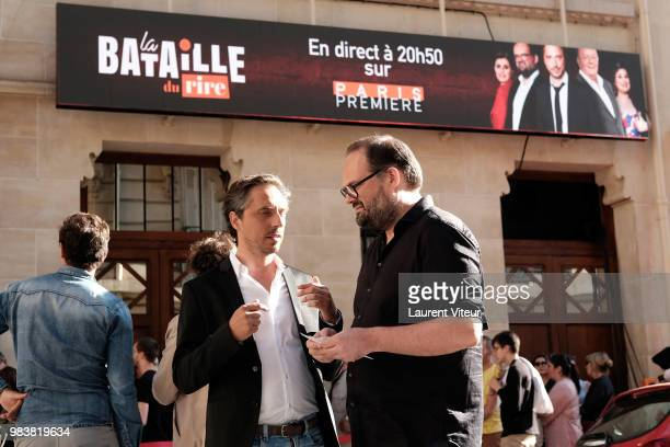 Jerome de Verdiere and Stephane Rose attend 'La Bataille du Rire' TV Show at Theatre de la Tour Eiffel on June 25 2018 in Paris France