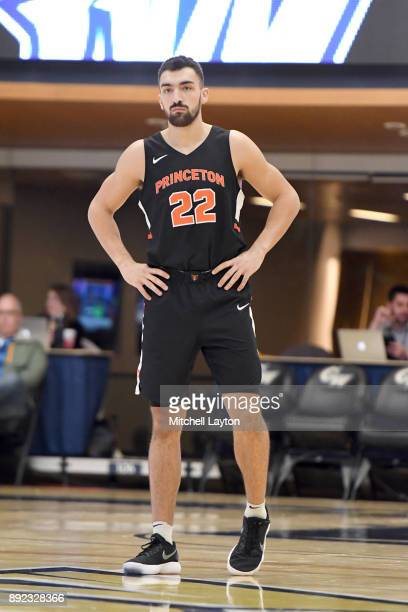 Jerome Desrosiers of the Princeton Tigers looks on during a college basketball game against the George Washington Colonials at the Smith Center on...