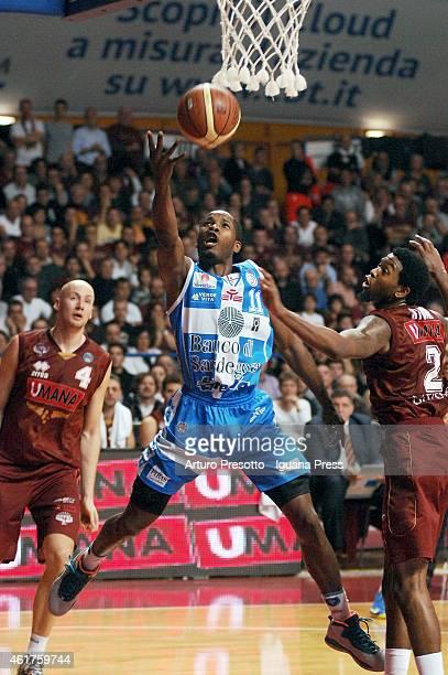 Jerome Dyson of Banco di Sardegna competes with Julyan Stone of Umana during the Lega Basket serie A1 match between Umana Reyer Venezia and Banco di...