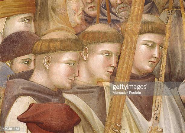 'Jerome examines the stigmata by Giotto 12901295 13th century fresco Italy Umbria Assisi Upper Basilica of St Francis Detail Three friars in the...