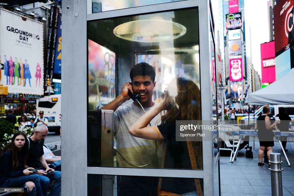 NYC Art Installation Features Phone Booths To Listen To Immigration Stories : News Photo