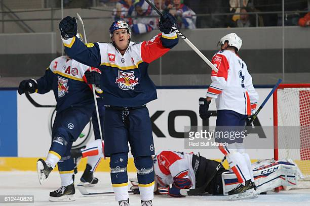 Jerome Flaake of Munich celebrates during the Champions Hockey League Round of 32 match between Red Bull Munich and Vaxjo Lakers at...