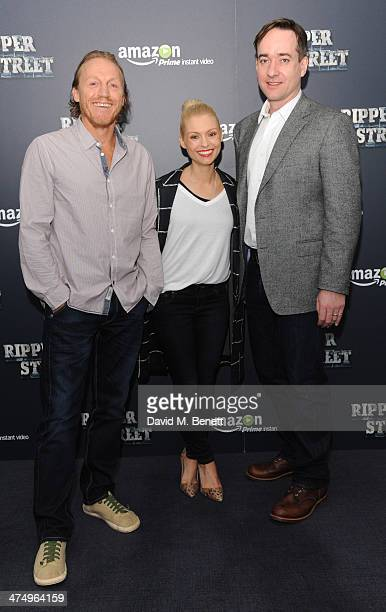 Jerome Flynn MyAnna Buring and Matthew McFadden pose for the launch of drama 'Ripper Street' on Amazon Prime Instant Video on February 26 2014 in...