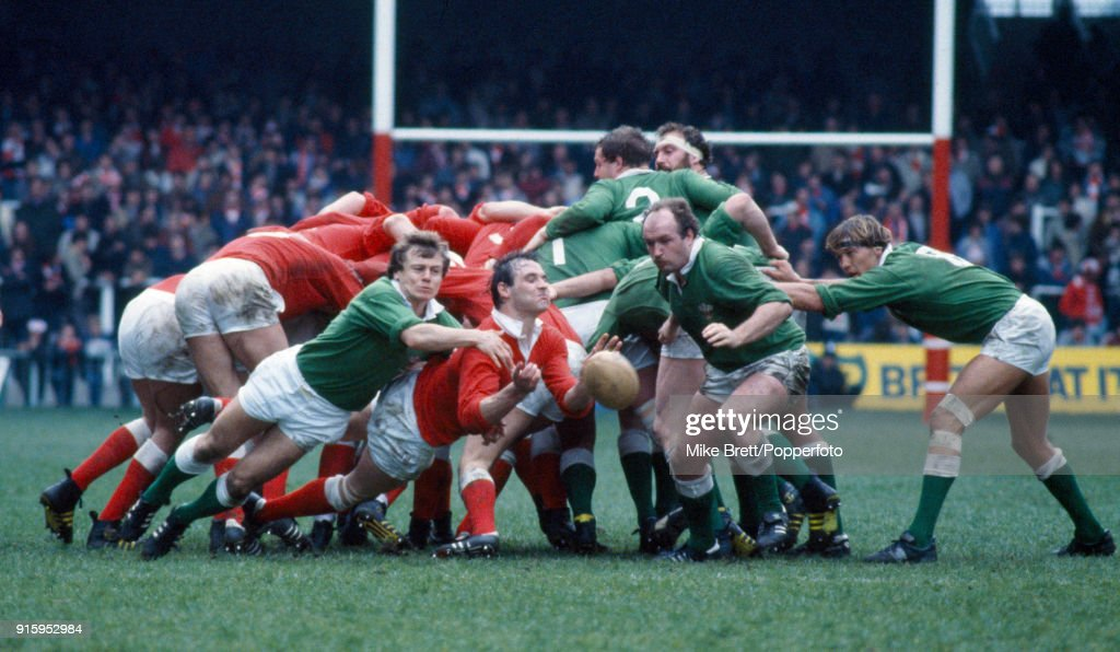 Jerome Gallion of the WRU Presidents team tackles Terry Holmes of Wales during their rugby union charity match at the Cardiff Arms Park on 7th April 1984.