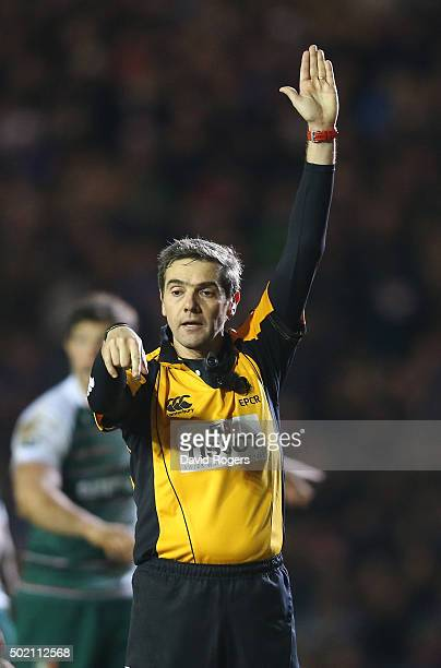 Jerome Garces the referee awards a penalty during the European Rugby Champions Cup match between Leicester Tigers and Munster at Welford Road on...