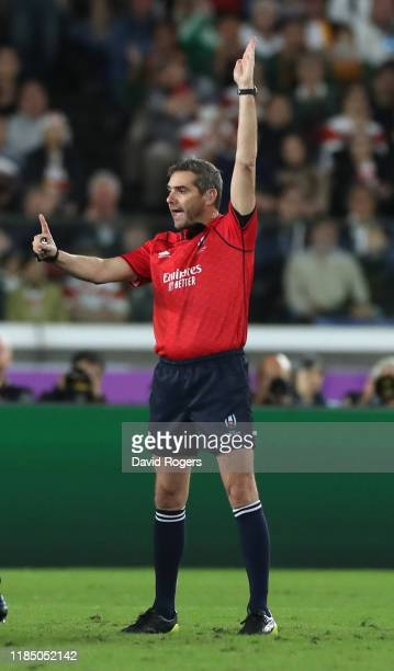 Jerome Garces, the referee awards a penalty during the Rugby World Cup 2019 Final between England and South Africa at International Stadium Yokohama...