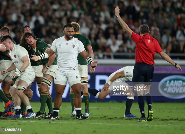 Jerome Garces, the referee awards a scrum penalty as Billy Vunipola remonstrates during the Rugby World Cup 2019 Final between England and South...