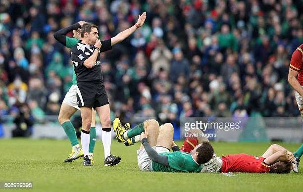Jerome Garces the referee blows the whistle to end a drawn match during the RBS Six Nations match between Ireland and Wales at the Aviva Stadium on...