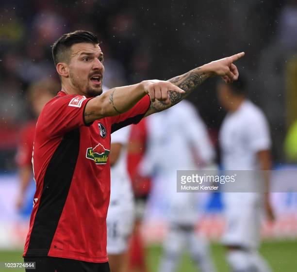 Jerome Gondorf of SC Freiburg reacts during the Bundesliga match between Sport Club Freiburg and Eintracht Frankfurt at SchwarzwaldStadion on August...