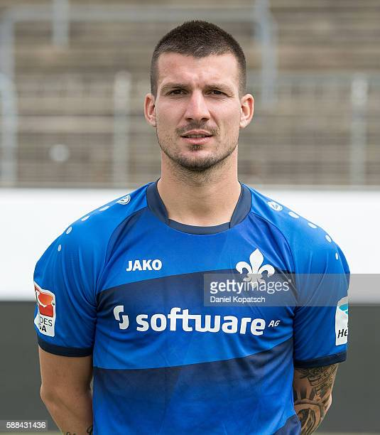 Jerome Gondorf poses during the Darmstadt 98 Team Presentation on August 11 2016 in Darmstadt Germany