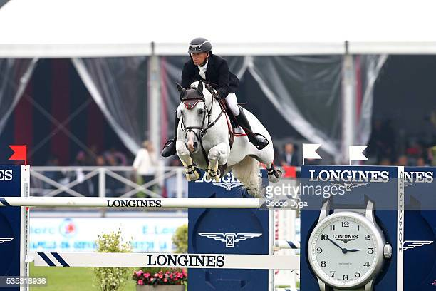 Jerome GUERY of Belgium rides ALICANTE during the Master Airbus Jumping of the Longines Global Champions Tour at Hippodrome de Chantilly on May 29...