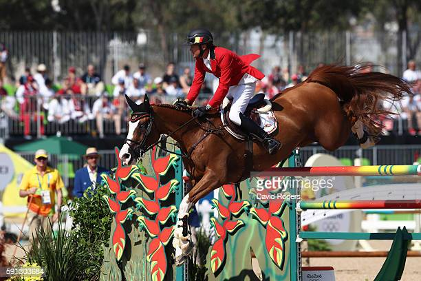 Jerome Guery of Belgium rides Grand Cru Van De Roz during the Individual Jumping 3rd Qualifier during Day 12 of the Rio 2016 Olympic Games at the...