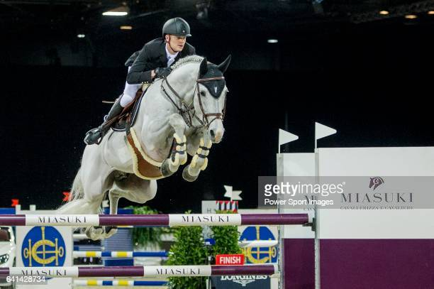 Jerome Guery of Belgium riding on Alicante competes during the EEM Trophy part of the Longines Masters of Hong Kong on 10 February 2017 at the Asia...