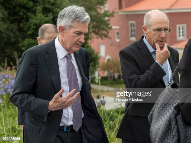Jerome H Powell current Chairman of the US Federal Reserve System leaves at the end of the afternoon discussion session during the last day of ECB...