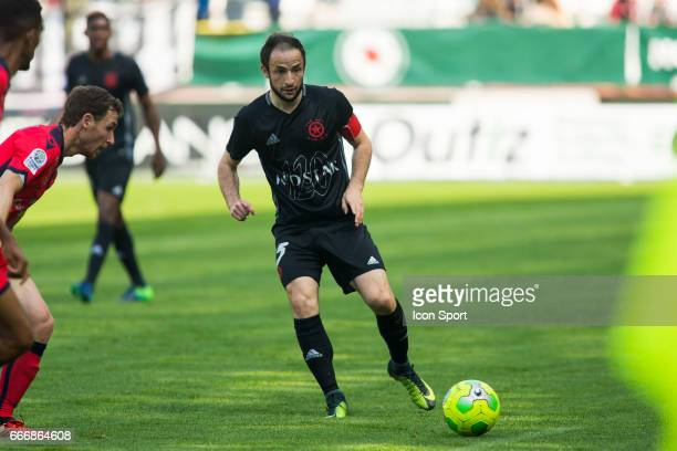 Jerome HERGAULT of Red Star during the Ligue 2 match between Red Star and Gazelec Ajaccio at Stade Jean Bouin on April 8 2017 in Paris France