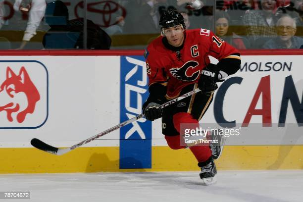 Jerome Iginla of the Calgary Flames skates against the Vancouver Canucks on December 31 2007 at Pengrowth Saddledome in Calgary Alberta Canada The...