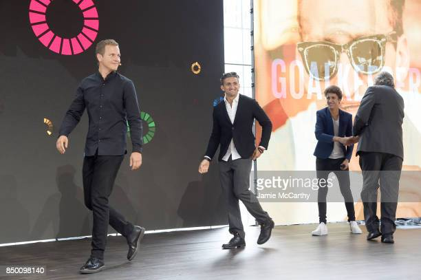 Jerome Jarre Casey Neistat and Juanpa Zurita speak speaks at Goalkeepers 2017 at Jazz at Lincoln Center on September 20 2017 in New York City...