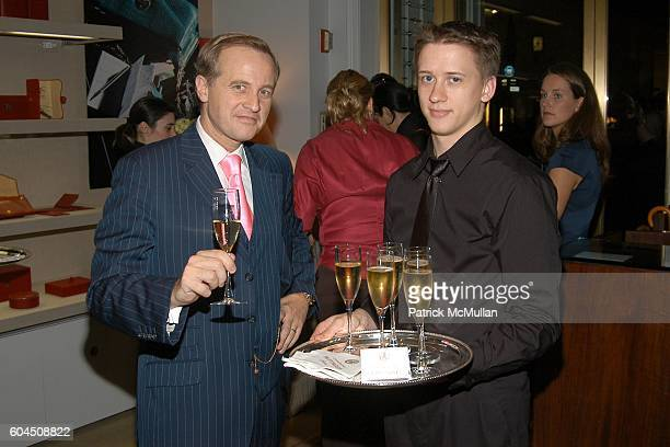 Jerome Jeandin from Taittinger Champagne and Server attend SMYTHSON OF BOND STREET Cocktail Reception hosted by PADDY BYNG SAMANTHA CAMERON and ZAC...