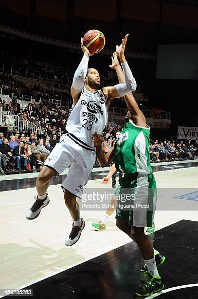 Jerome Jordan of Granarolo competes with Will Thomas of Sidigas during the LegaBasket Serie A1 match between Granarolo Bologna and Sidigas Avellino...