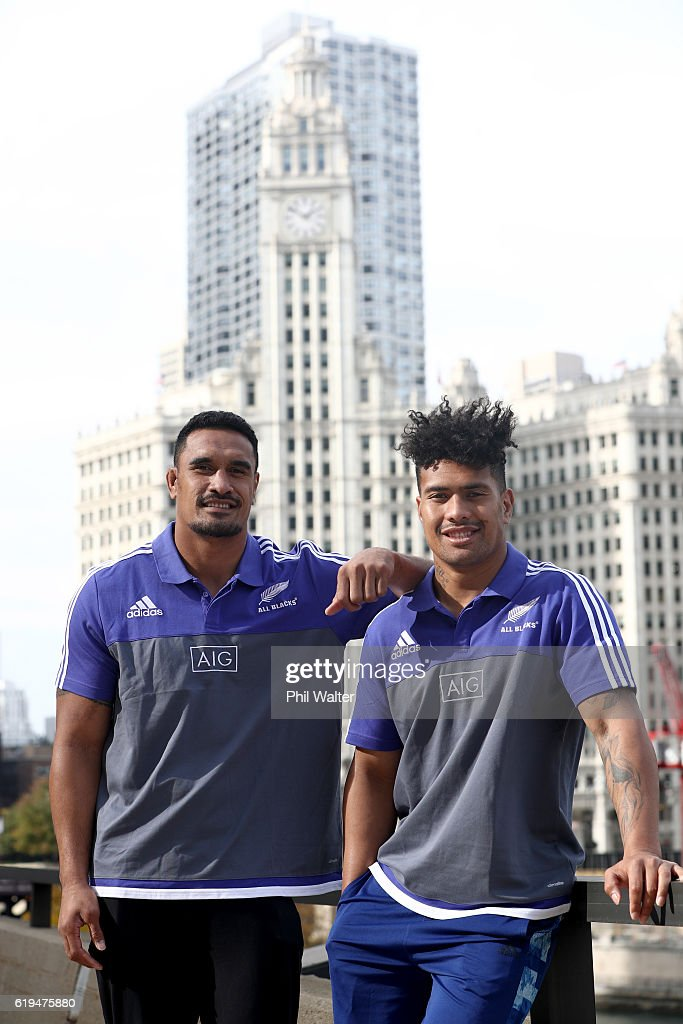 Jerome Kaino (L) and Ardie Savea (R) of the New Zealand All Blacks pose outside following a press conference at the Hyatt Regency Hotel on October 31, 2016 in Chicago, Illinois.