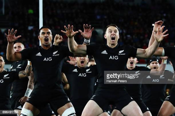 Jerome Kaino and Ben Smith of the All Blacks perform the haka ahead of the International Test match between the New Zealand All Blacks and Samoa at...