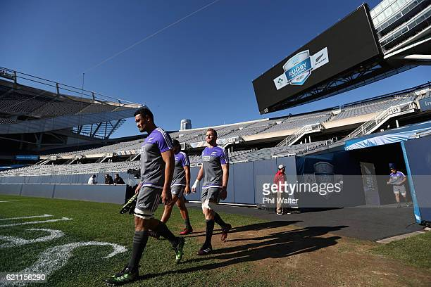 Jerome Kaino and Kieran Read of the New Zealand All Blacks walk out onto the field during the All Blacks captains run at Soldier Field on November 3...